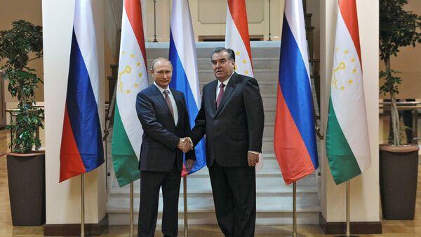 Presidente de Rusia, Vladímir Putin, y su homólogo tayiko, Emomali Rahmón - Sputnik Mundo