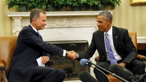Presidente de EEUU, Barack Obama, y Rey Felipe VI durante la reunión en la Casa Blanca - Sputnik Mundo