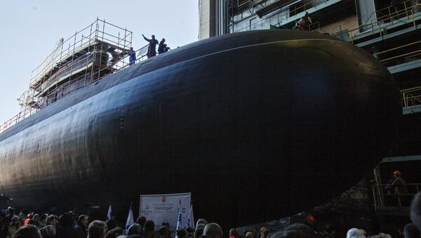 Lanzamiento del submarino Krasnodar en San Petersburgo, Rusia - Sputnik Mundo