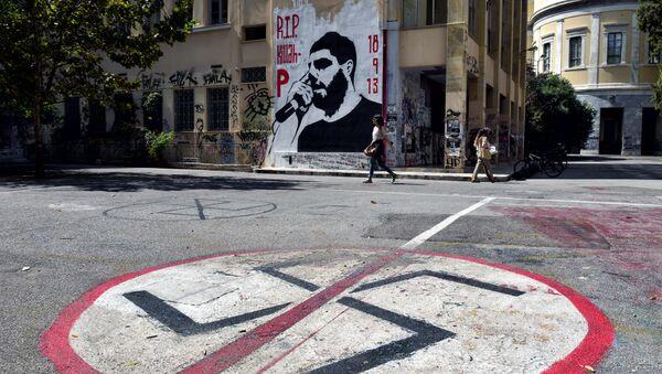 Retrato del rapero antifascista Pavlos Fyssas en Atenas - Sputnik Mundo