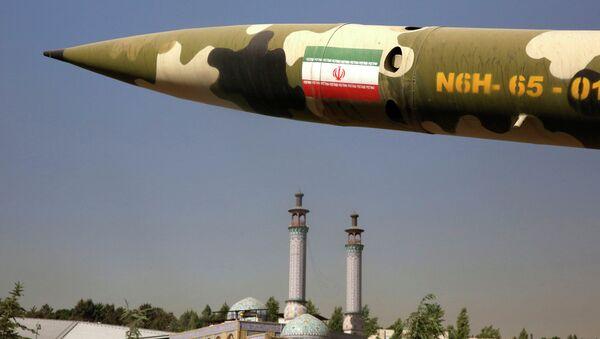 Misil iraní en la exposición sobre guerra entre Irak e Irán de 1980-88 en Teherán, Irán - Sputnik Mundo