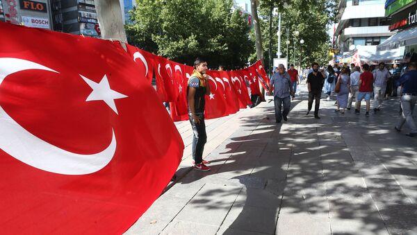 Un hombre está cerca de la bandera de Turquía durante las demostraciones por la lucha contra el terrorismo, Ankara - Sputnik Mundo