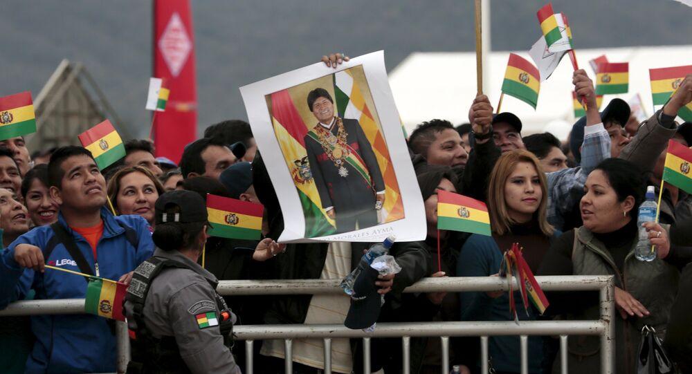 Partidarios del presidente de Bolivia Evo Morales