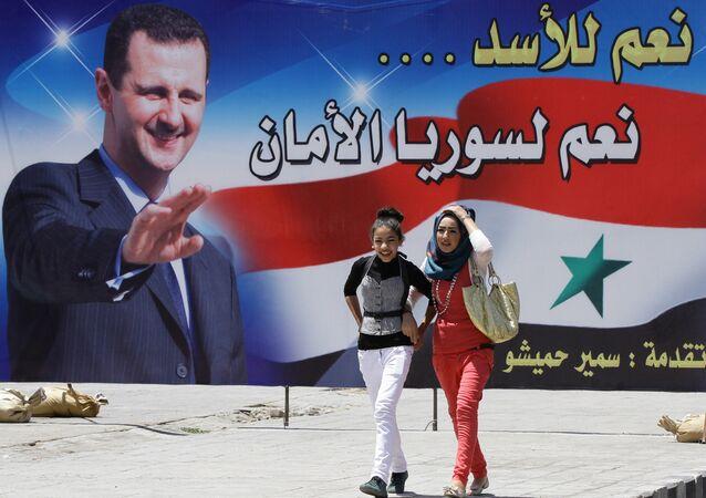 Un retrato del presidente sirio Bashar Asad
