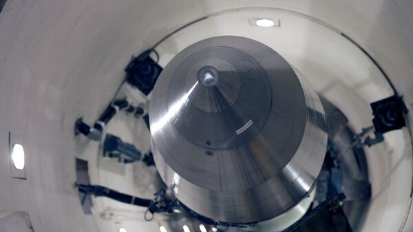 An inert Minuteman 3 missile is seen in a training launch tube at Minot Air Force Base, N.D.  - Sputnik Mundo