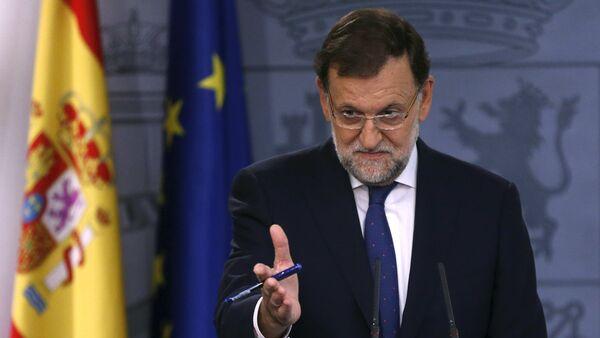 Mariano Rajoy, primer ministro de España, durante la rueda de prensa - Sputnik Mundo