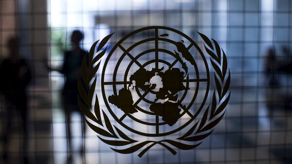 A United Nations logo is seen on a glass door in the Assembly Building at the United Nations headquarters in New York City September 18, 2015 - Sputnik Mundo