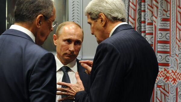 Presidente de Rusia, Vladímir Putin, durante su encuentro con representantes de EEUU - Sputnik Mundo