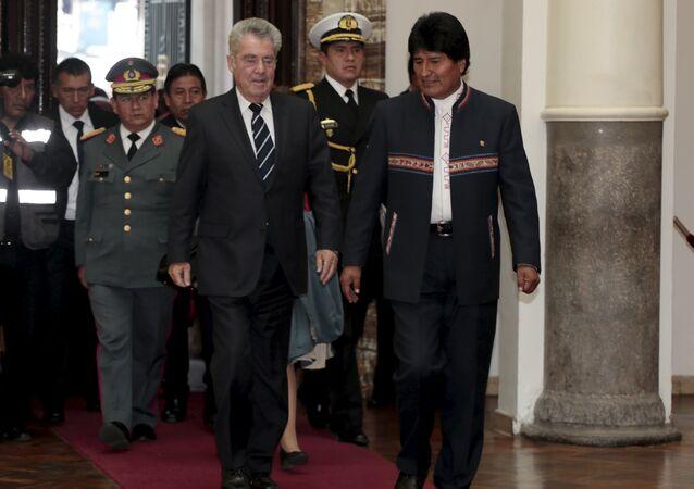 Presidente de Austria, Heinz Fischer y presidente de Bolivia, Evo Morales