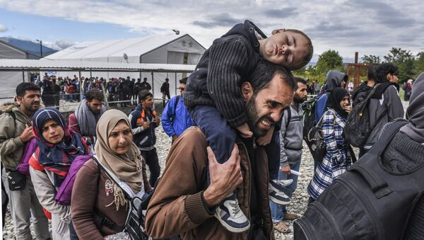 Refugiados sirios en Macedonia - Sputnik Mundo