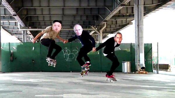 Putin, Obama y Kim Jong-un patinan al son de 'Why can't we be friends' - Sputnik Mundo