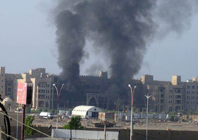 Hotel Al Qasr en Aden después del ataque, el 6 de octubre, 2015