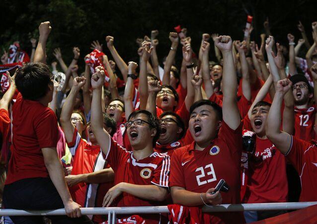 Aficionados al equipo de fútbol de Hong Kong (archivo)