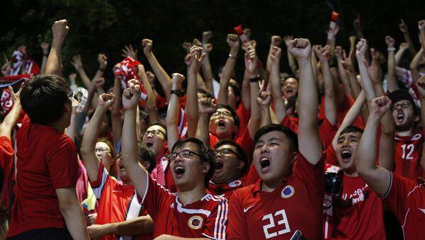 Aficionados al equipo de fútbol de Hong Kong (archivo) - Sputnik Mundo