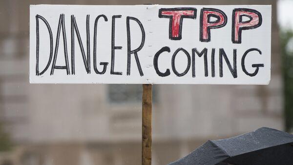 Manifestantes protestan contra el TPP - Sputnik Mundo
