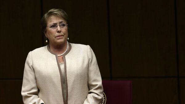 In this Aug. 21, 2015, file photo, Chile's President Michelle Bachelet attends a congressional session, during her official visit, in Asuncion, Paraguay - Sputnik Mundo