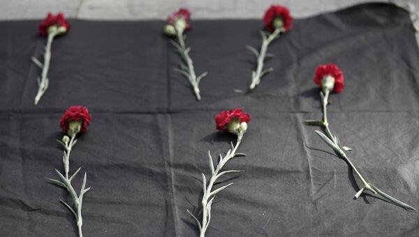 Unos claveles rojos en memoria de las víctimas de explosiones en Ankara - Sputnik Mundo