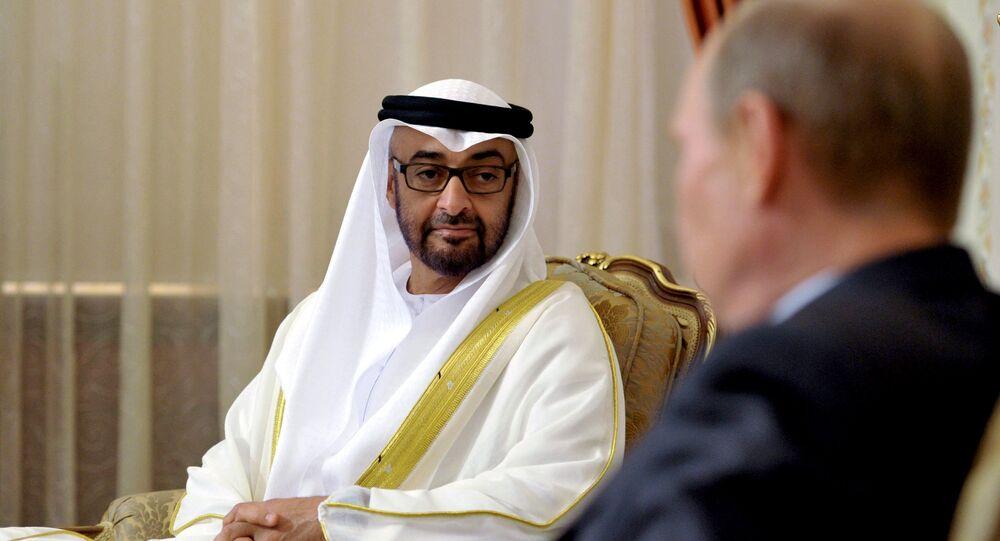 Príncipe heredero de Abu Dabi, Mohamed bin Zayed Al Nahyan y presidente de Rusia, Vladímir Putin