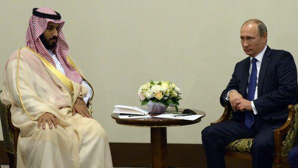 Mohamed bin Salman, ministro de Defensa de Arabia Saudí y Vladímir Putin, presidente de Rusia - Sputnik Mundo