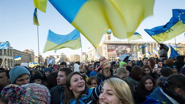 Manifestación en Kiev en apoyo de la integración de Ucrania en la UE (archivo) - Sputnik Mundo