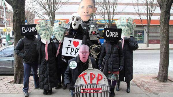 Manifestación contra el TPP - Sputnik Mundo