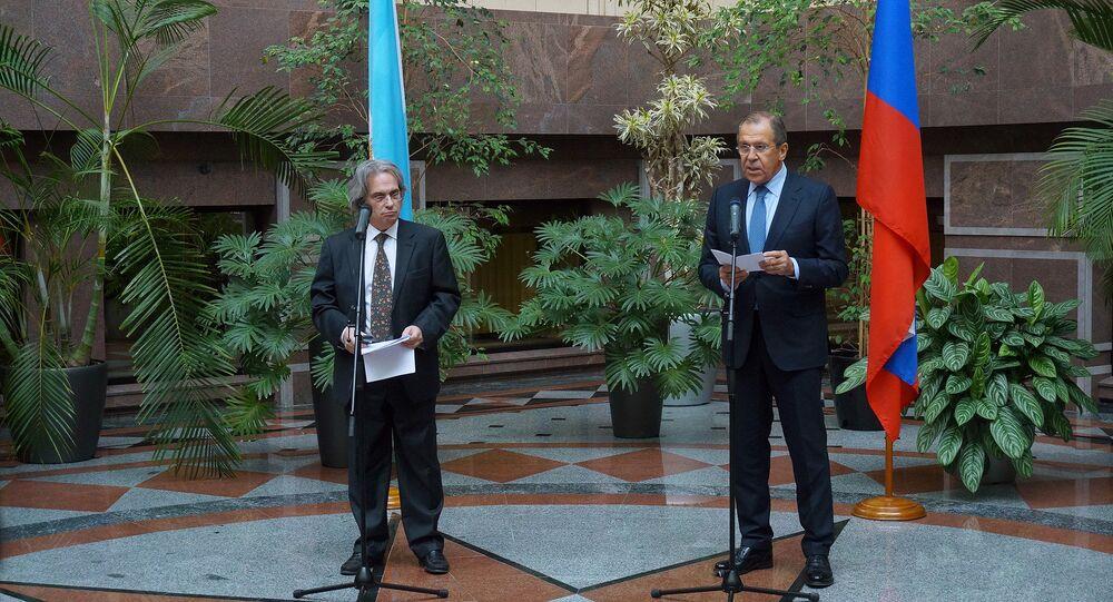 Embajador de Argentina en Rusia, Pablo Tettamanti y ministro de Asuntos Exteriores de Rusia, Serguéi Lavrov