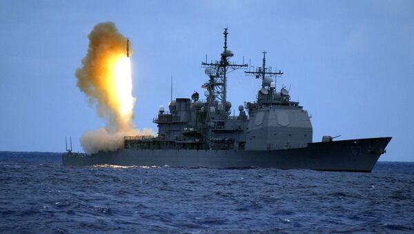 US Navy handout shows a Standard Missile Three (SM-3) being launched from the guided missile cruiser USS Shiloh - Sputnik Mundo