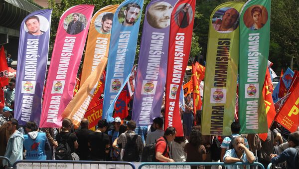Manifestantes sostienen banderas con imágenes de las víctimas de las protestas, primavera de 2013 en Gezi - Sputnik Mundo