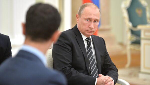 Presidente de Siria Bashar Asad y presidente de Rusia Vladímir Putin - Sputnik Mundo