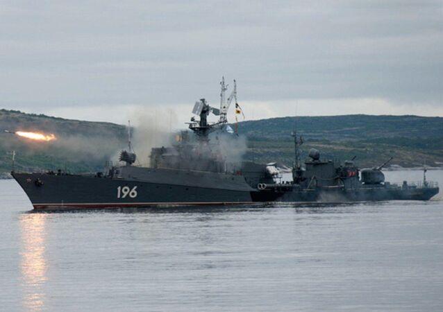 Maniobras de la Flota del Norte en el mar de Barents (archivo)