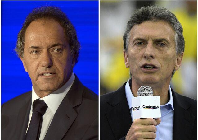 Daniel Scioli y Mauricio Macri, candidatos presidenciales argentinos