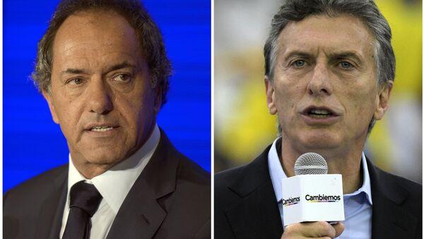 Daniel Scioli y Mauricio Macri, candidatos presidenciales argentinos - Sputnik Mundo