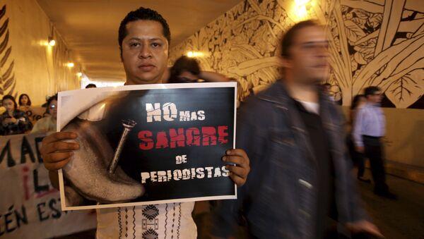 Un hombre lleva la pancarta que dice No más sangre de periodistas durante la manifestación para exigir justicia en el caso Regina Martinez - Sputnik Mundo