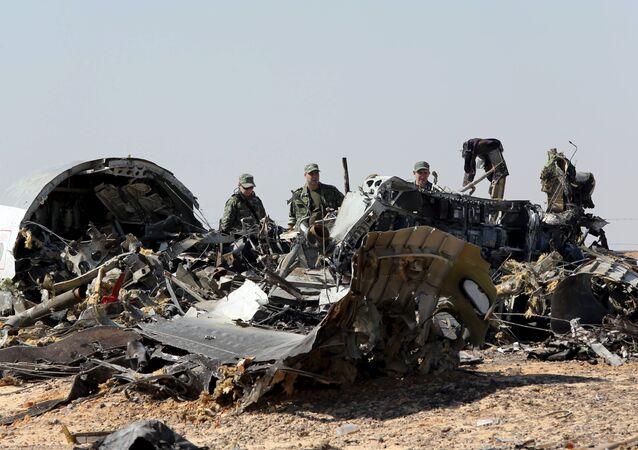 El lugar del siniestro del Airbus A321 en Egipto