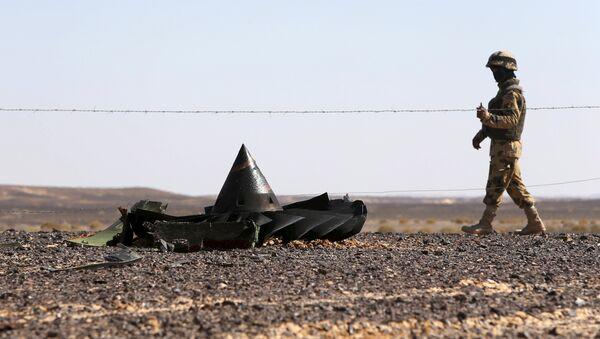 Soldado de Ejército egipcio vigila el lugar de siniestro de avión ruso A321 - Sputnik Mundo