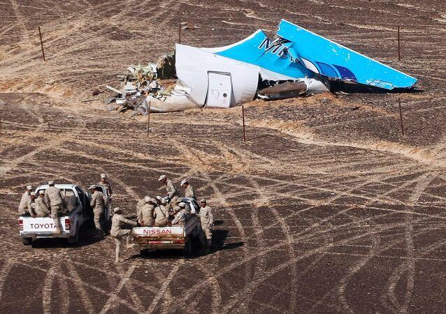 Restos del Airbus-321 siniestrado en Egipto