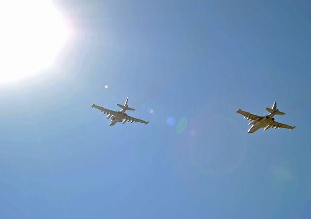 Cazas rusos Su-25 en la base aérea de Hmeymim