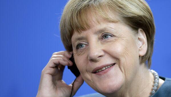 Angela Merkel, la canciller de Alemania, durante la reunión con el presidente de Bolivia, Evo Morales - Sputnik Mundo