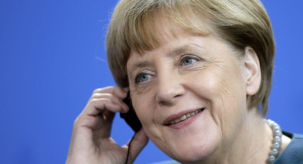 Angela Merkel, la canciller de Alemania, durante la reunión con el presidente de Bolivia, Evo Morales