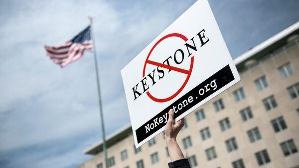 Protestas contra la construcción del oleoducto Keystone XL - Sputnik Mundo