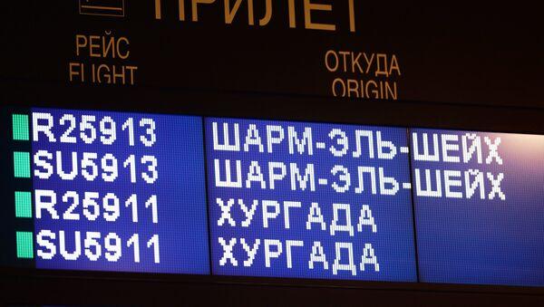 Tablero con la información sobre las llegadas desde Egipto en el aeropuerto Sheremétievo - Sputnik Mundo