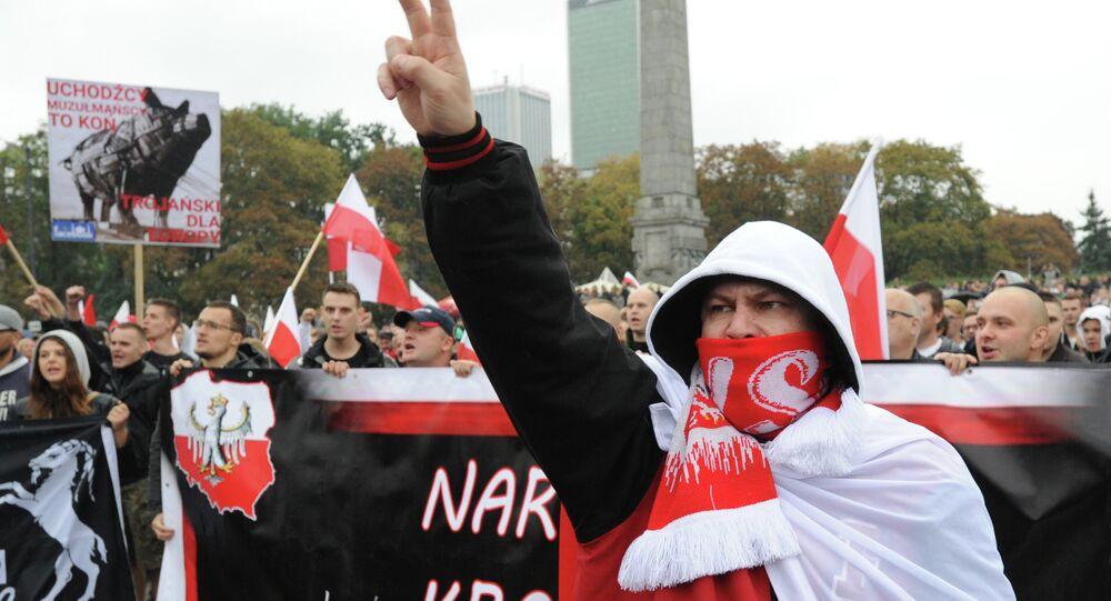 Una protesta contra la acogida de migrantes en Varsovia