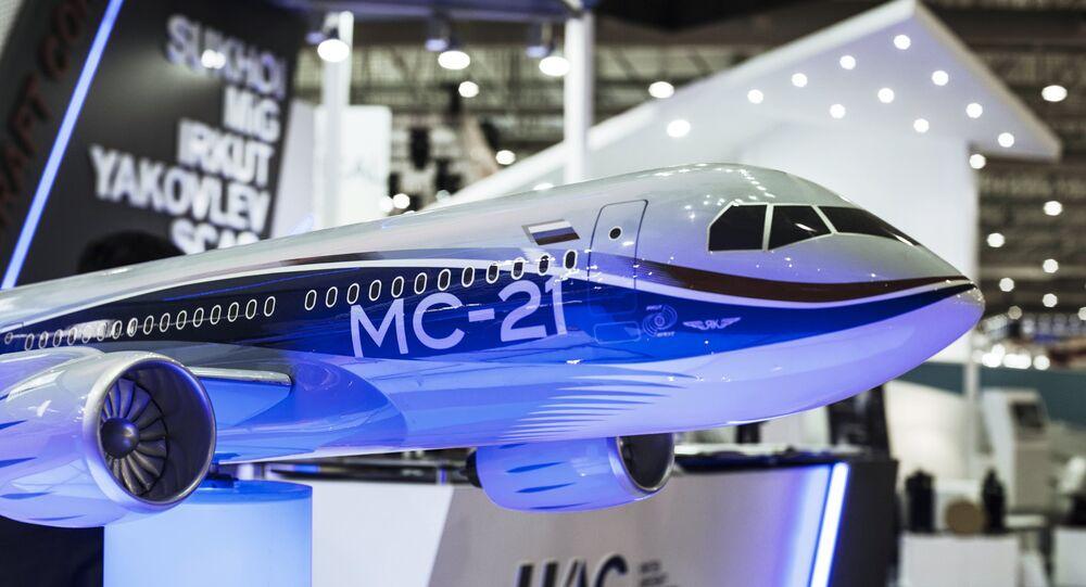 Modelo del avión MS-21 (Archivo)
