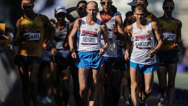 Atleta ruso, Serguéi Kirdyapkin, participa en una competición de atletismo durante JJOO en Londres - Sputnik Mundo