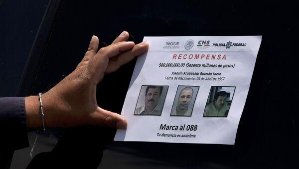 El folleto con fotos de Joaquín el 'Chapo' Guzmán - Sputnik Mundo