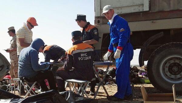Rescatistas del Ministerio de Emergencias de Rusia en el lugar del siniestro del A321 en Egipto - Sputnik Mundo