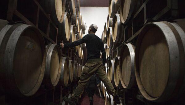 Barriles de vino en una bodega en Palestina - Sputnik Mundo