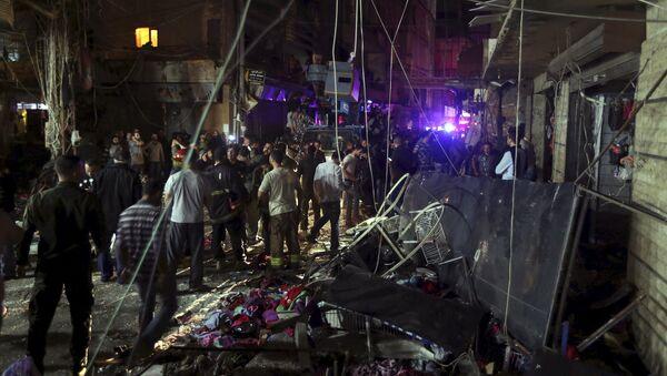 El lugar del atentado en Beirut, Líbano - Sputnik Mundo
