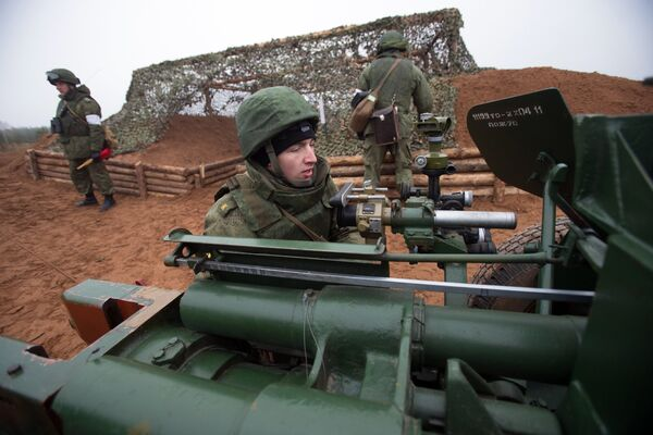 Entrenamiento de los cadetes de la Academia de Artillería Mijálovskaya - Sputnik Mundo