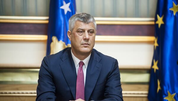 The head of the Democratic Party of Kosovo (PDK), Hashim Thaci, addresses the media after signing a coalition agreement in Pristina - Sputnik Mundo